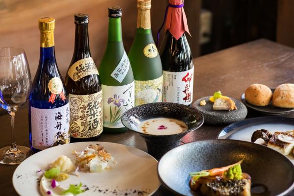 香取産林檎の前菜、みりんを使った食前酒、銚子産鮮魚のフルコース