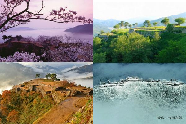 別名〝虎臥城〟の威容を誇り、四季折々の自然と調和する日本屈指の石垣遺構