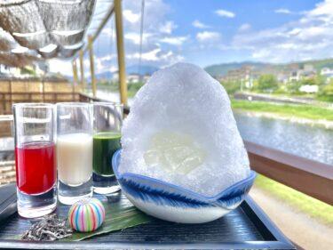 京都納涼床とふわふわ創作かき氷。抹茶・甘酒・赤紫蘇のこだわりシロップで